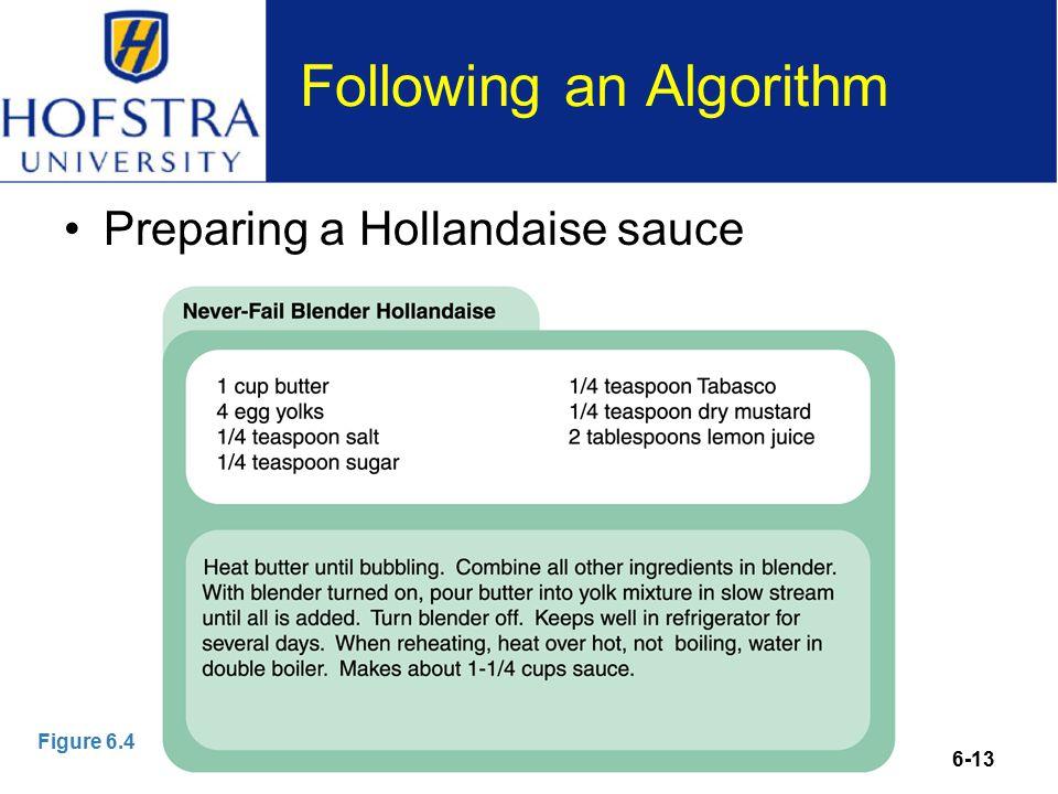 6-13 Following an Algorithm Preparing a Hollandaise sauce Figure 6.4