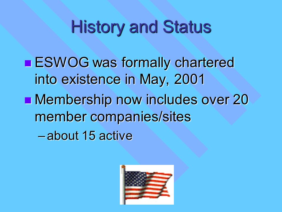 History and Status ESWOG was formally chartered into existence in May, 2001 ESWOG was formally chartered into existence in May, 2001 Membership now in