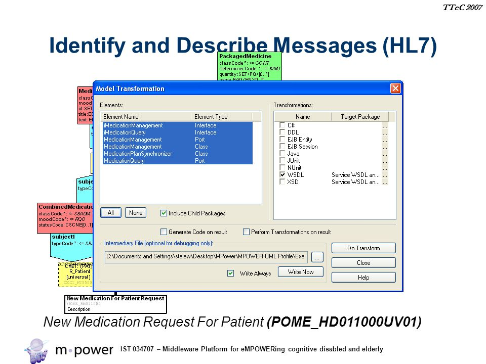 IST 034707 – Middleware Platform for eMPOWERing cognitive disabled and elderly TTeC 2007 Identify and Describe Messages (HL7) New Medication Request For Patient (POME_HD011000UV01)