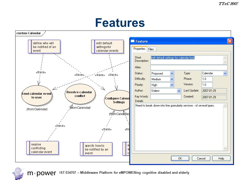 IST 034707 – Middleware Platform for eMPOWERing cognitive disabled and elderly TTeC 2007 Features