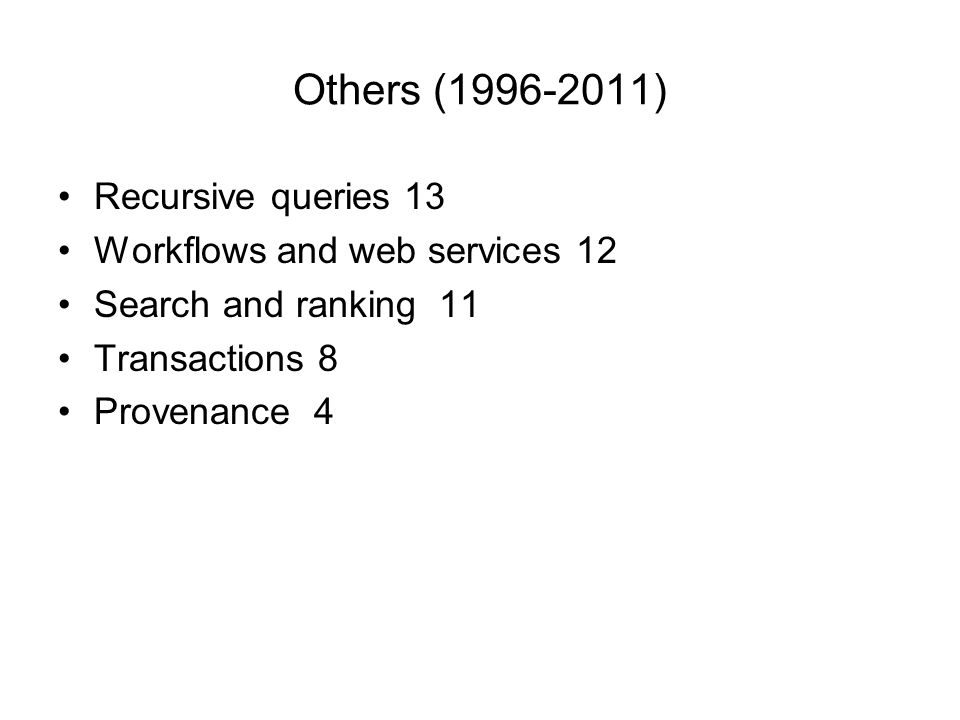 Others (1996-2011) Recursive queries 13 Workflows and web services 12 Search and ranking 11 Transactions 8 Provenance 4