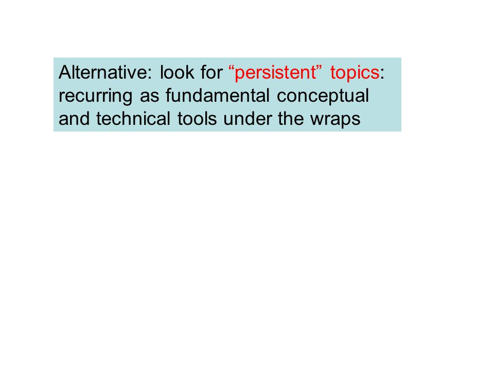"Alternative: look for ""persistent"" topics: recurring as fundamental conceptual and technical tools under the wraps"