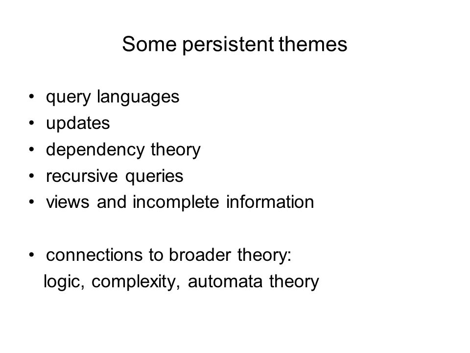 Some persistent themes query languages updates dependency theory recursive queries views and incomplete information connections to broader theory: log