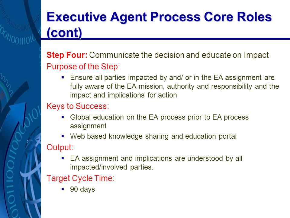 Executive Agent Process Core Roles (cont) Step Four: Communicate the decision and educate on Impact Purpose of the Step:  Ensure all parties impacted by and/ or in the EA assignment are fully aware of the EA mission, authority and responsibility and the impact and implications for action Keys to Success:  Global education on the EA process prior to EA process assignment  Web based knowledge sharing and education portal Output:  EA assignment and implications are understood by all impacted/involved parties.