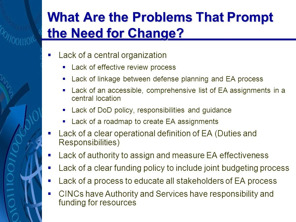 What Are the Problems That Prompt the Need for Change.