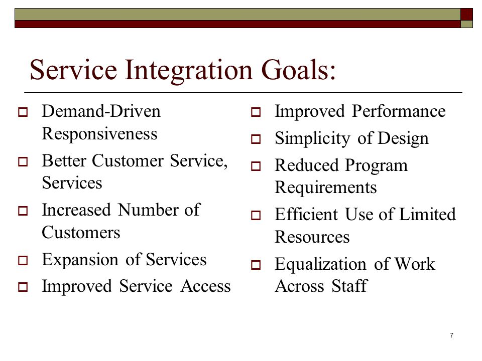 7 Service Integration Goals:  Demand-Driven Responsiveness  Better Customer Service, Services  Increased Number of Customers  Expansion of Services  Improved Service Access  Improved Performance  Simplicity of Design  Reduced Program Requirements  Efficient Use of Limited Resources  Equalization of Work Across Staff