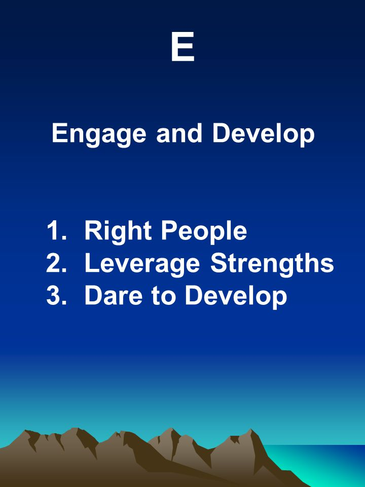 E Engage and Develop 1. Right People 2. Leverage Strengths 3. Dare to Develop