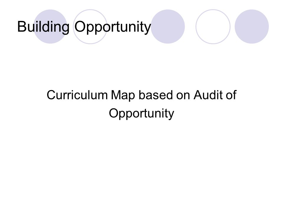 Building Opportunity Curriculum Map based on Audit of Opportunity
