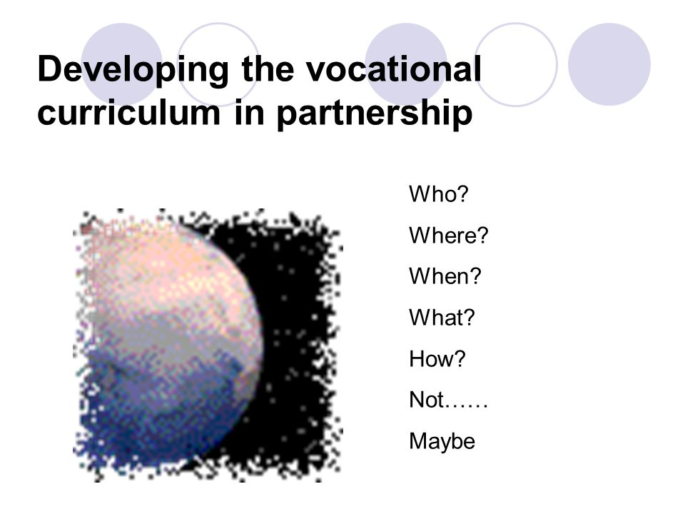 Developing the vocational curriculum in partnership Who Where When What How Not…… Maybe