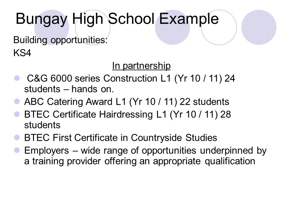 Bungay High School Example Building opportunities: KS4 In partnership C&G 6000 series Construction L1 (Yr 10 / 11) 24 students – hands on.