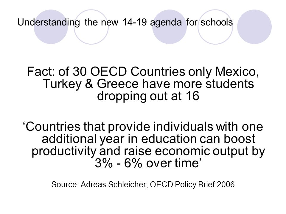 Understanding the new 14-19 agenda for schools Fact: of 30 OECD Countries only Mexico, Turkey & Greece have more students dropping out at 16 'Countries that provide individuals with one additional year in education can boost productivity and raise economic output by 3% - 6% over time' Source: Adreas Schleicher, OECD Policy Brief 2006