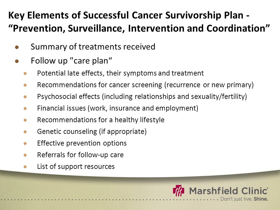 Key Elements of Successful Cancer Survivorship Plan - Prevention, Surveillance, Intervention and Coordination ● Summary of treatments received ● Follow up care plan ● Potential late effects, their symptoms and treatment ● Recommendations for cancer screening (recurrence or new primary) ● Psychosocial effects (including relationships and sexuality/fertility) ● Financial issues (work, insurance and employment) ● Recommendations for a healthy lifestyle ● Genetic counseling (if appropriate) ● Effective prevention options ● Referrals for follow-up care ● List of support resources
