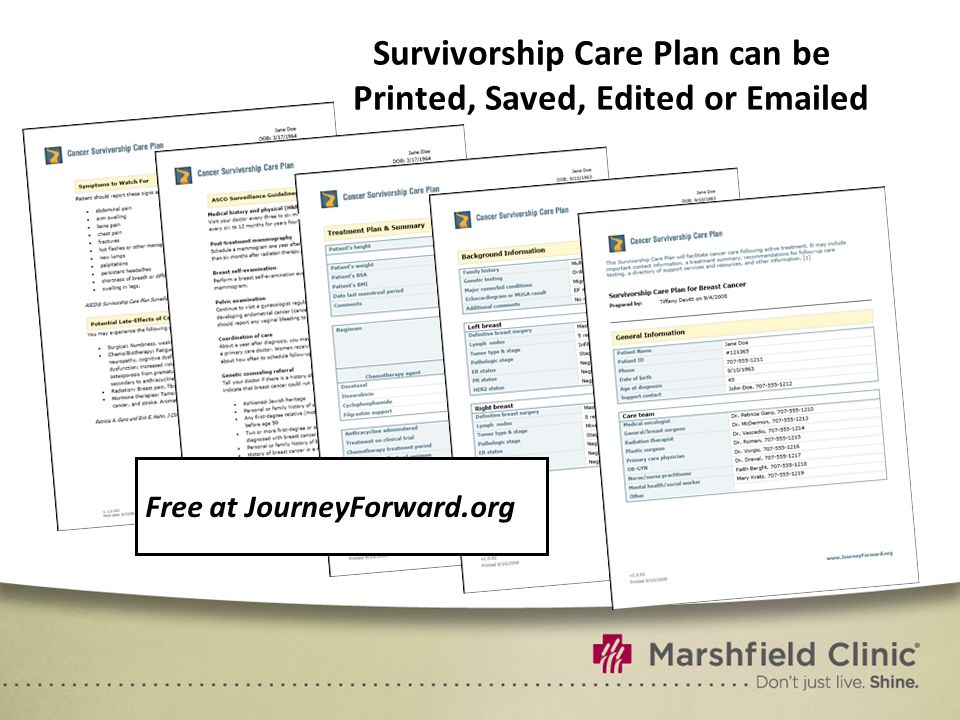 Survivorship Care Plan can be Printed, Saved, Edited or Emailed Free at JourneyForward.org