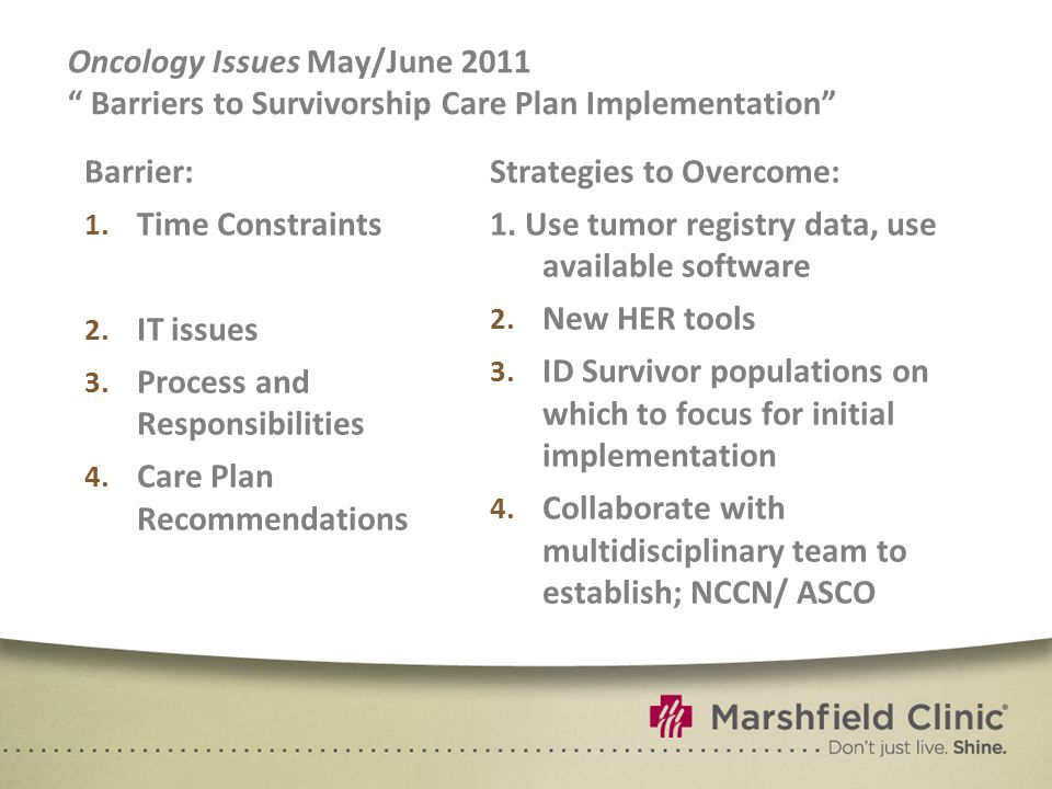 Oncology Issues May/June 2011 Barriers to Survivorship Care Plan Implementation Barrier: 1.