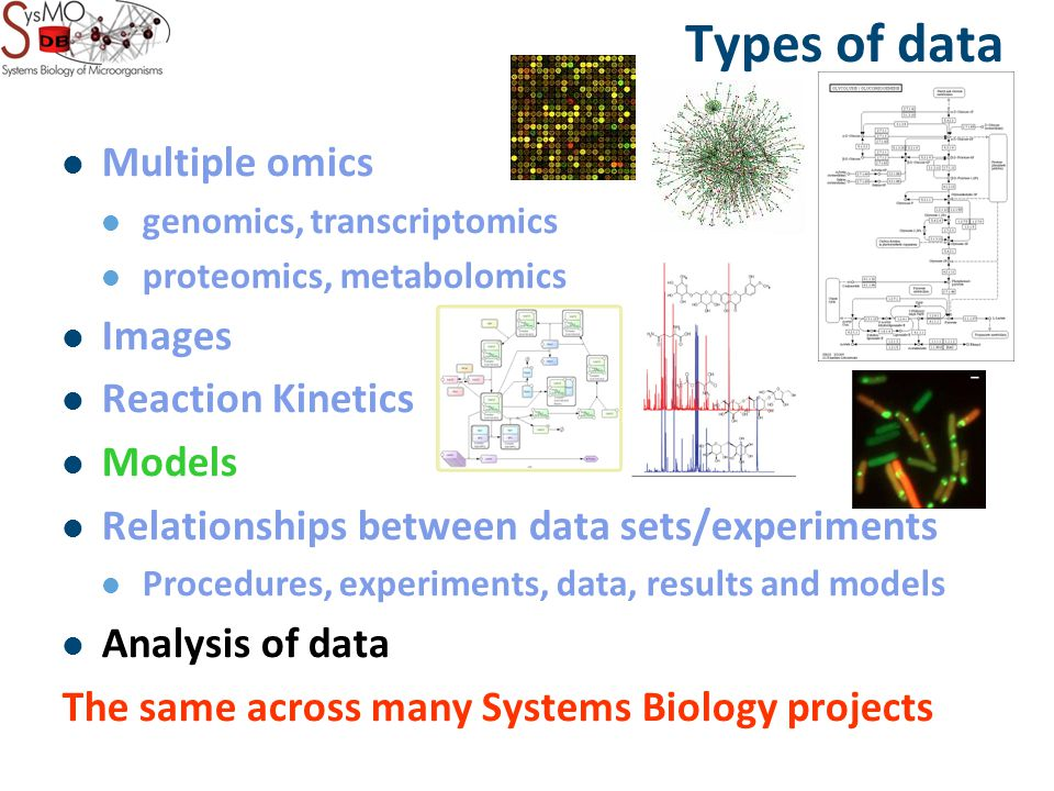 Types of data Multiple omics genomics, transcriptomics proteomics, metabolomics Images Reaction Kinetics Models Relationships between data sets/experiments Procedures, experiments, data, results and models Analysis of data The same across many Systems Biology projects