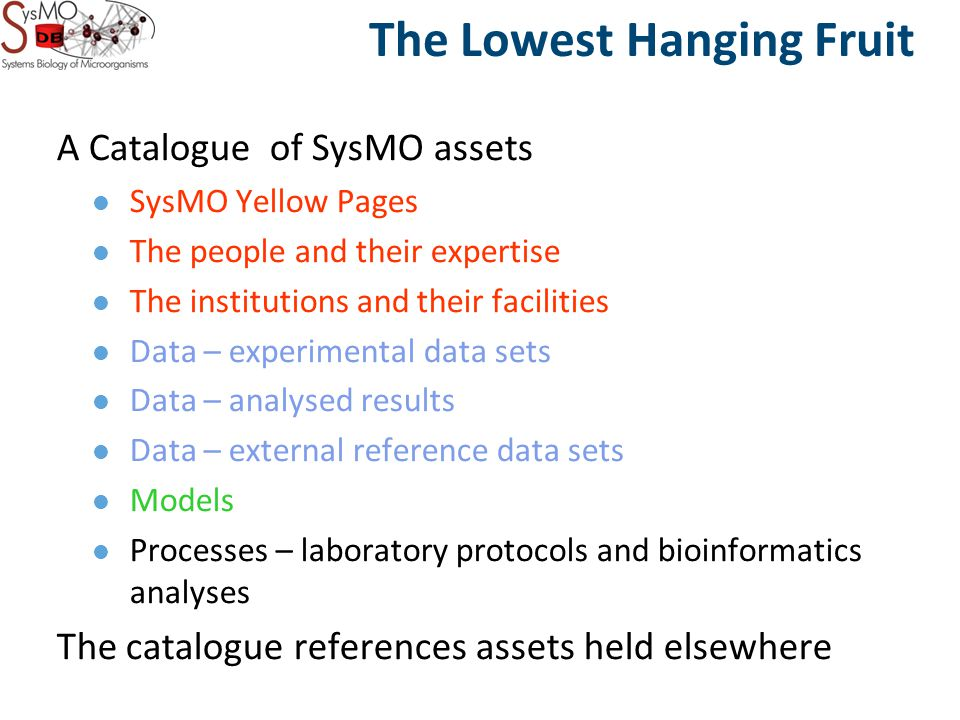 The Lowest Hanging Fruit A Catalogue of SysMO assets SysMO Yellow Pages The people and their expertise The institutions and their facilities Data – experimental data sets Data – analysed results Data – external reference data sets Models Processes – laboratory protocols and bioinformatics analyses The catalogue references assets held elsewhere