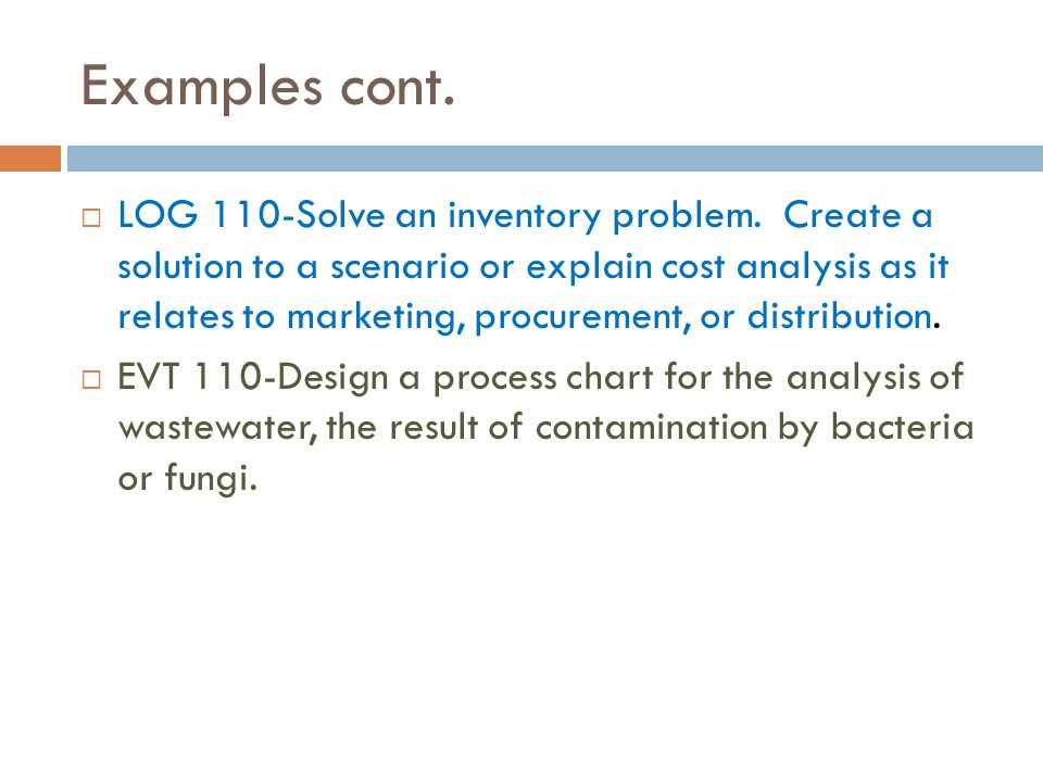 Examples cont.  LOG 110-Solve an inventory problem.