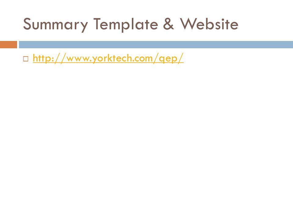 Summary Template & Website  http://www.yorktech.com/qep/ http://www.yorktech.com/qep/