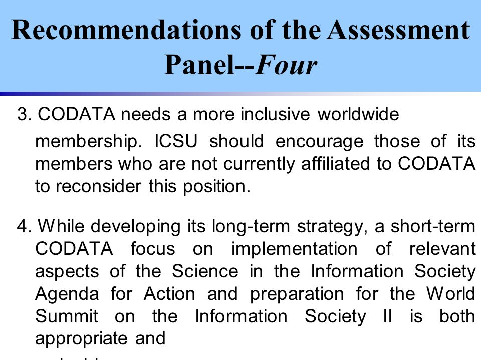 3. CODATA needs a more inclusive worldwide membership.
