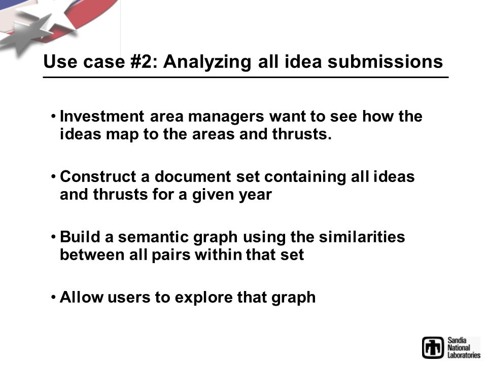 Use case #2: Analyzing all idea submissions Investment area managers want to see how the ideas map to the areas and thrusts.