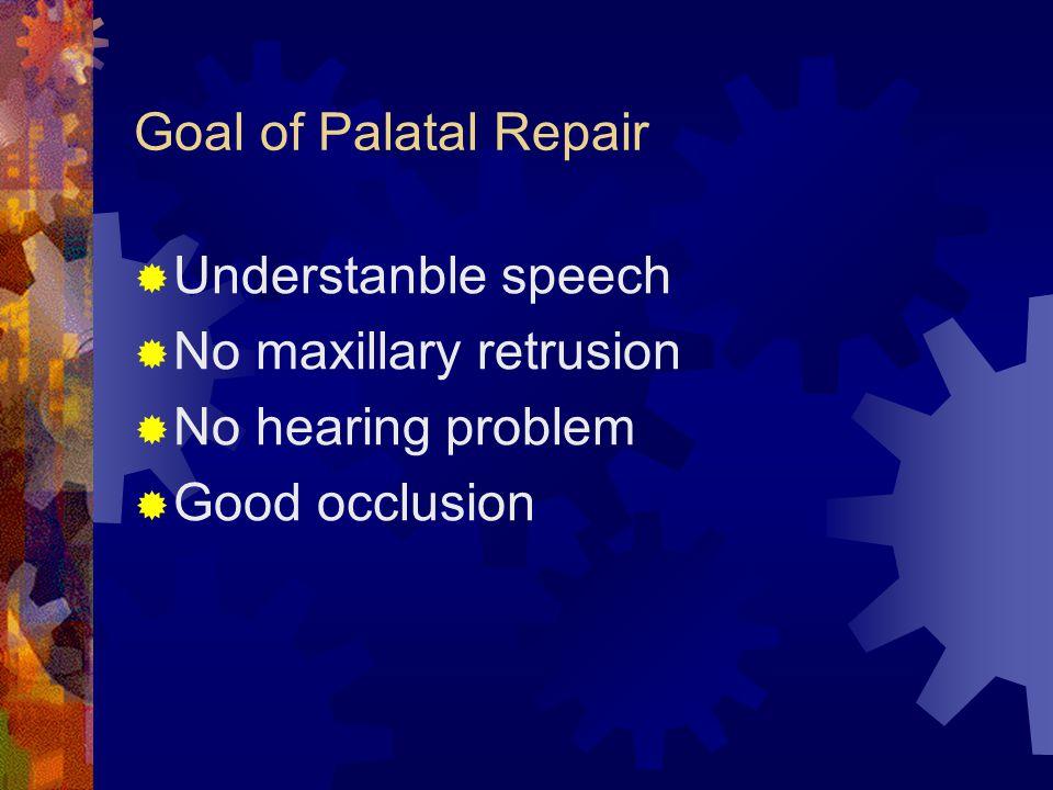 Goal of Palatal Repair  Understanble speech  No maxillary retrusion  No hearing problem  Good occlusion