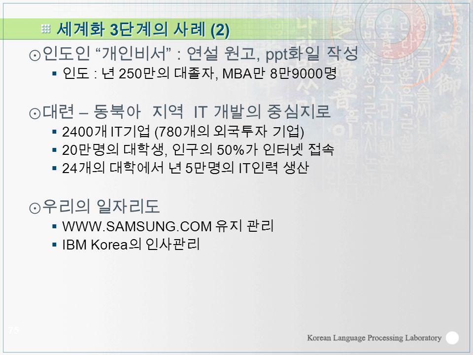 세계화 3 단계의 사례 (2) ⊙인도인 개인비서 : 연설 원고, ppt 화일 작성  인도 : 년 250 만의 대졸자, MBA 만 8 만 9000 명 ⊙대련 – 동북아 지역 IT 개발의 중심지로  2400 개 IT 기업 (780 개의 외국투자 기업 )  20 만명의 대학생, 인구의 50% 가 인터넷 접속  24 개의 대학에서 년 5 만명의 IT 인력 생산 ⊙우리의 일자리도  WWW.SAMSUNG.COM 유지 관리  IBM Korea 의 인사관리 75