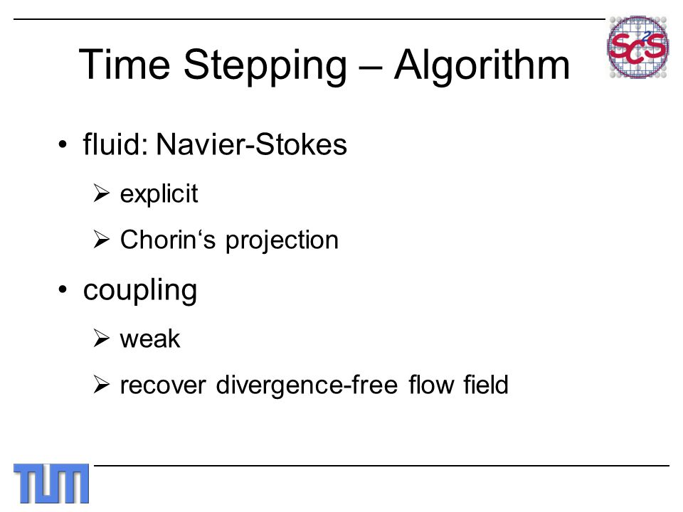 Time Stepping – Algorithm fluid: Navier-Stokes  explicit  Chorin's projection coupling  weak  recover divergence-free flow field