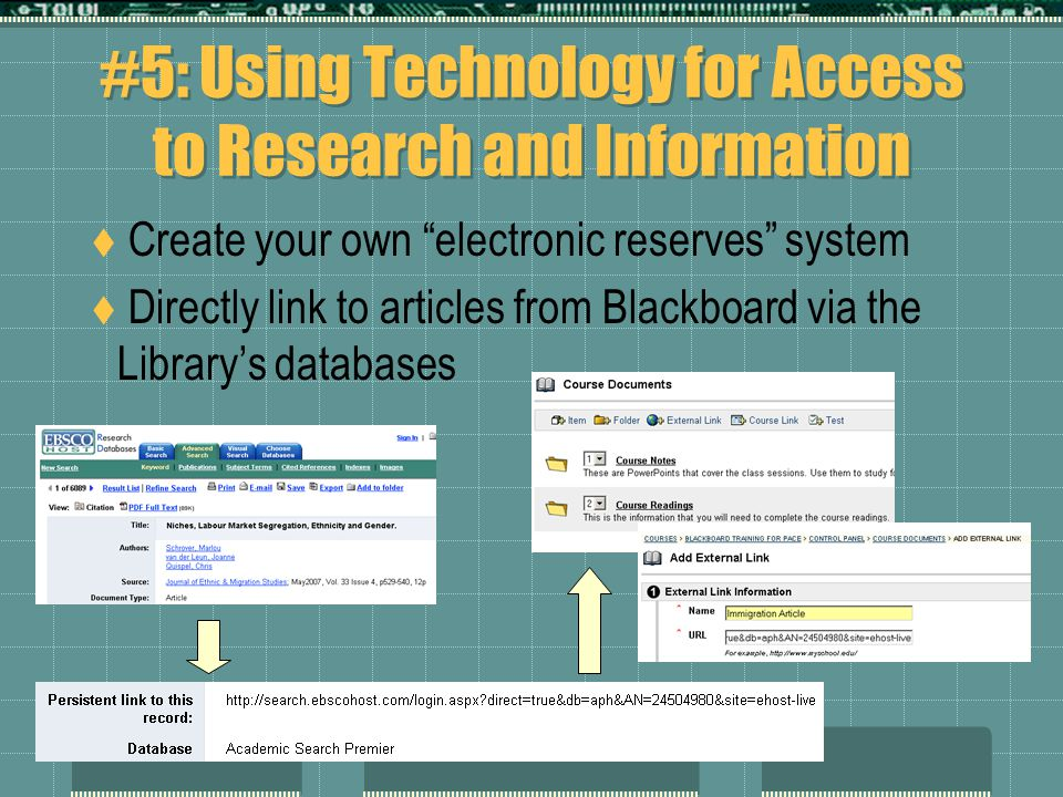 "#5: Using Technology for Access to Research and Information  Create your own ""electronic reserves"" system  Directly link to articles from Blackboard"