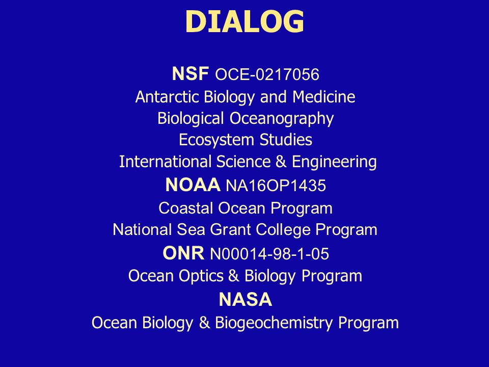 DIALOG NSF OCE-0217056 Antarctic Biology and Medicine Biological Oceanography Ecosystem Studies International Science & Engineering NOAA NA16OP1435 Coastal Ocean Program National Sea Grant College Program ONR N00014-98-1-05 Ocean Optics & Biology Program NASA Ocean Biology & Biogeochemistry Program