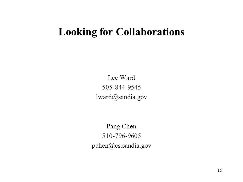 15 Looking for Collaborations Lee Ward 505-844-9545 lward@sandia.gov Pang Chen 510-796-9605 pchen@cs.sandia.gov