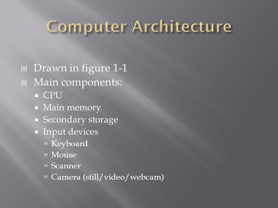  Drawn in figure 1-1  Main components:  CPU  Main memory  Secondary storage  Input devices  Keyboard  Mouse  Scanner  Camera (still/video/webcam)