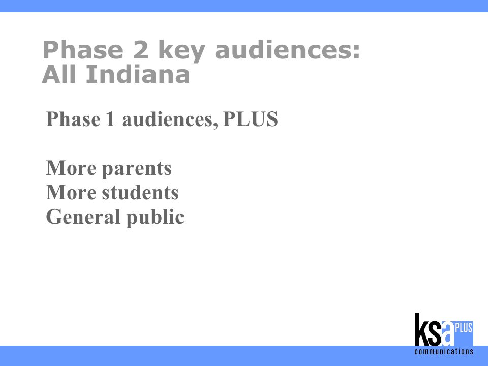 Phase 2 goals Provide practical advice for parents, students, educators, caregivers Promote legislative and regulatory changes