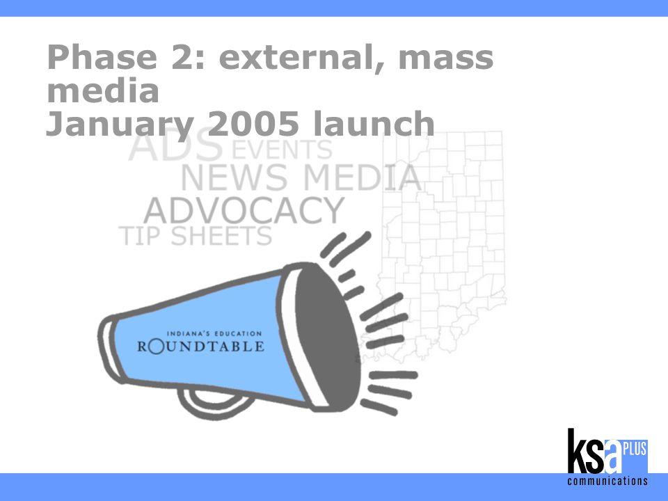 Phase 2: external, mass media January 2005 launch