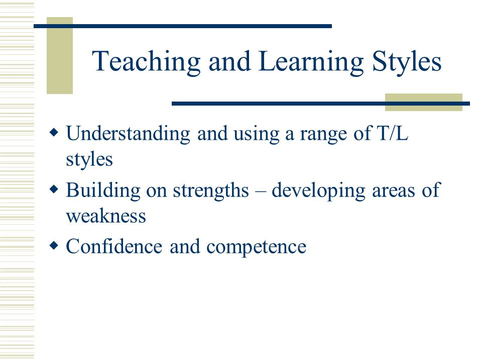 Teaching and Learning Styles  Understanding and using a range of T/L styles  Building on strengths – developing areas of weakness  Confidence and c