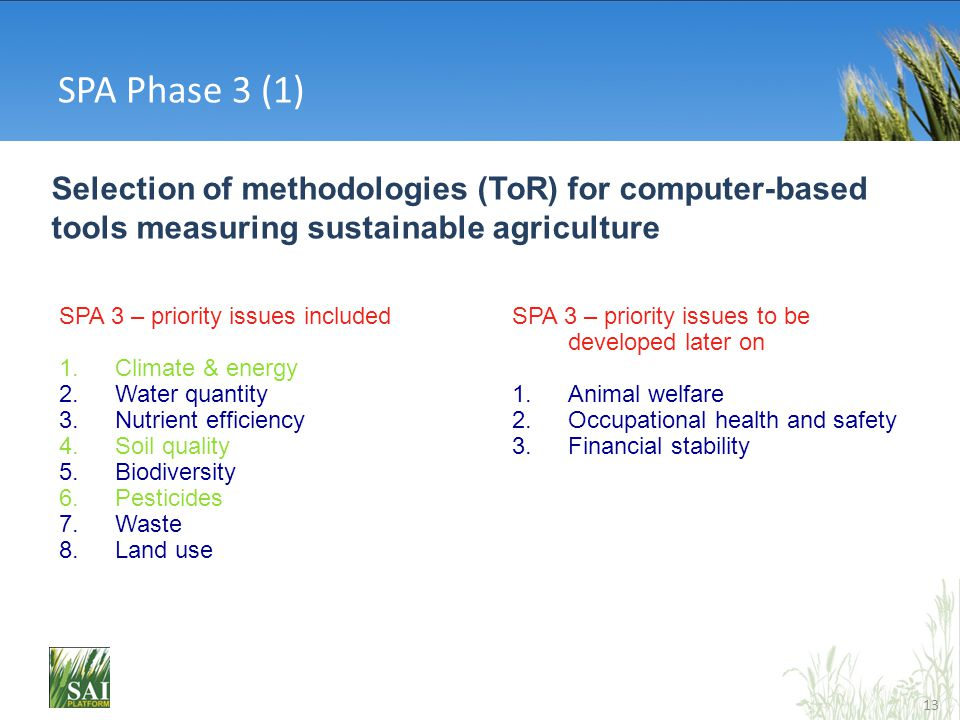 13 Selection of methodologies (ToR) for computer-based tools measuring sustainable agriculture SPA 3 – priority issues included 1.Climate & energy 2.W