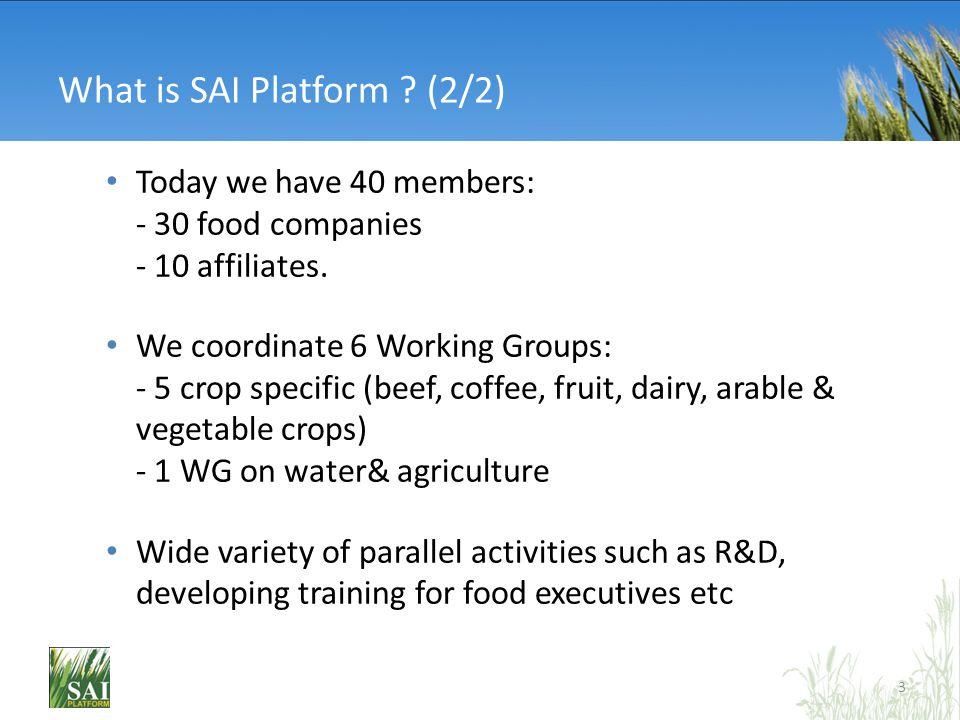 What is SAI Platform ? (2/2) Today we have 40 members: - 30 food companies - 10 affiliates. We coordinate 6 Working Groups: - 5 crop specific (beef, c