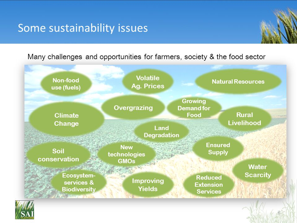 Some sustainability issues Many challenges and opportunities for farmers, society & the food sector 6 Ecosystem- services & Biodiversity Climate Chang