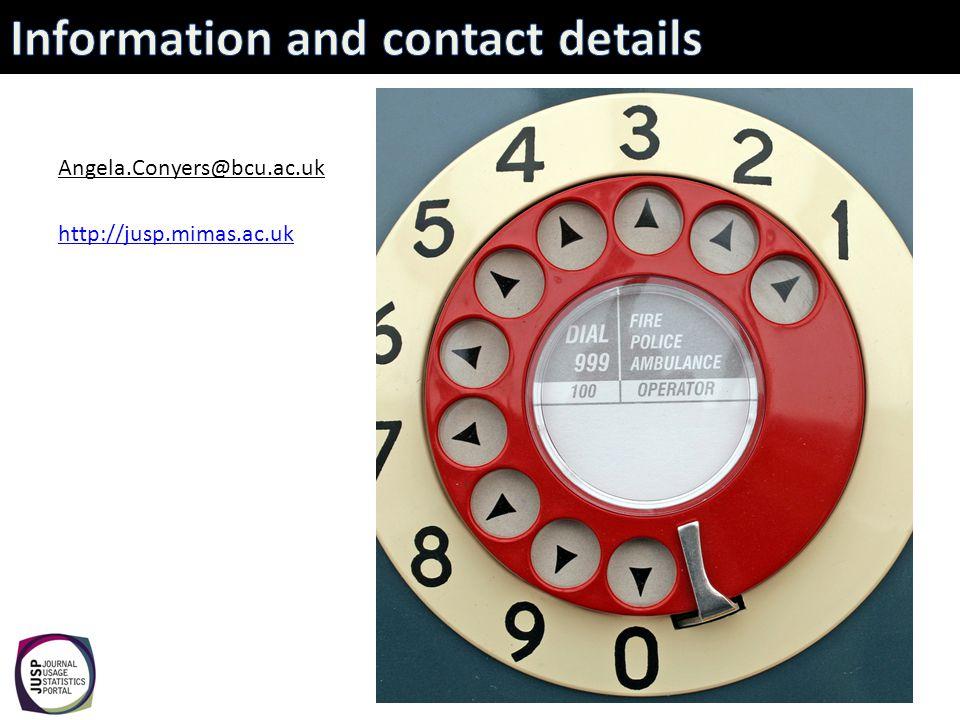 Angela.Conyers@bcu.ac.uk http://jusp.mimas.ac.uk