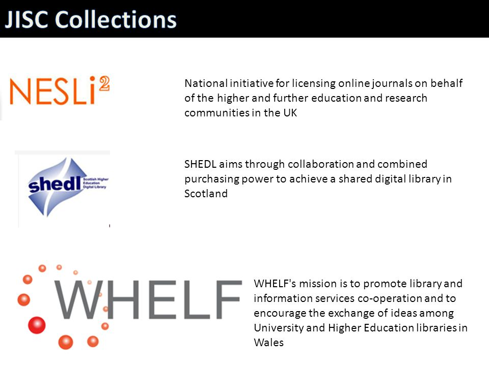 Supports UK academic libraries by providing a single point of access to e-journal usage data Assists management of e-journals collections, evaluation and decision- making Provides statistics to ensure the best deals for the academic community http://www.flickr.com/photos/nostri-imago/3137422976/
