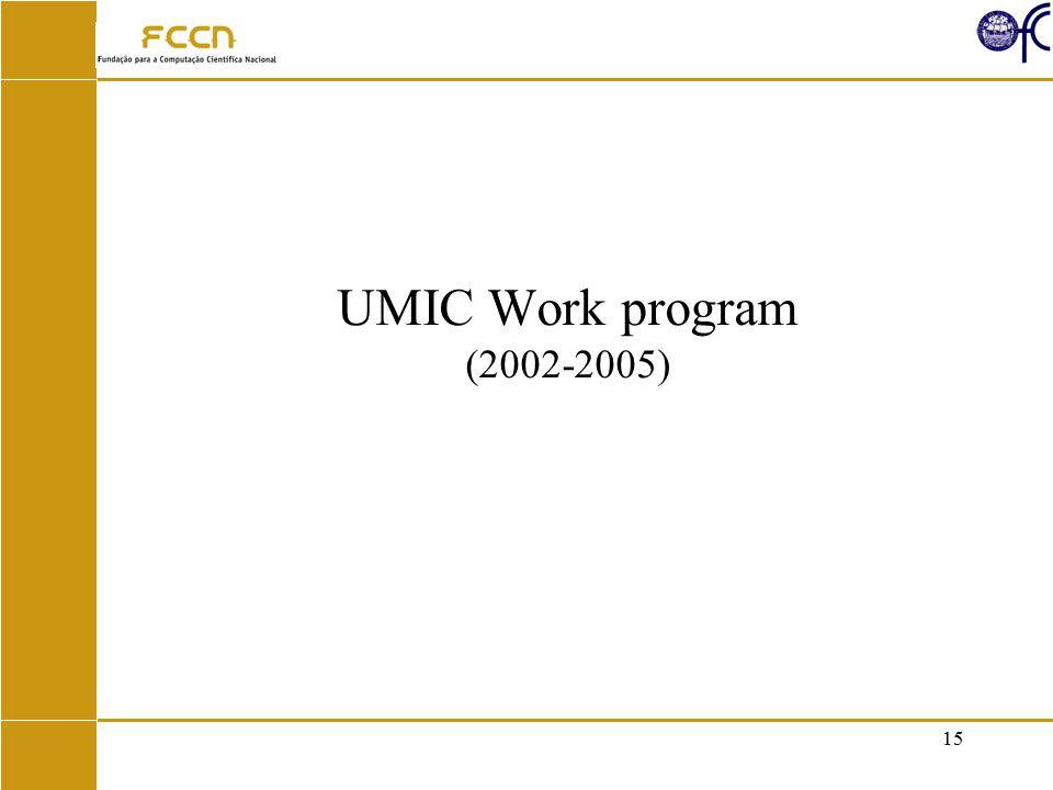 15 UMIC Work program (2002-2005)