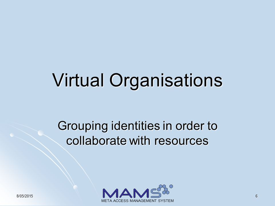 178/05/2015 META ACCESS MANAGEMENT SYSTEM Virtual Organisations Accomodating Research Groups in a Shibboleth Federation Peter Schendzielorz Macquarie University's E-Learning Centre of Excellence (MELCOE) peterhs@melcoe.mq.edu.au