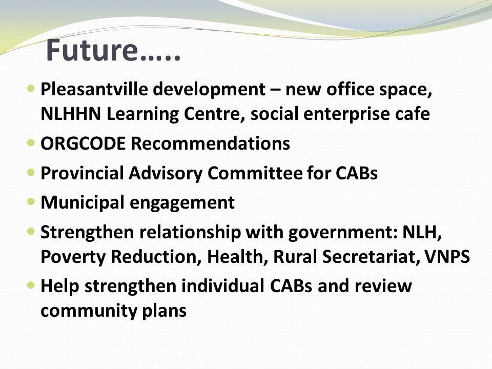 Future….. Pleasantville development – new office space, NLHHN Learning Centre, social enterprise cafe ORGCODE Recommendations Provincial Advisory Comm
