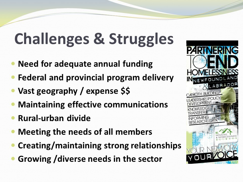 Challenges & Struggles Need for adequate annual funding Federal and provincial program delivery Vast geography / expense $$ Maintaining effective communications Rural-urban divide Meeting the needs of all members Creating/maintaining strong relationships Growing /diverse needs in the sector