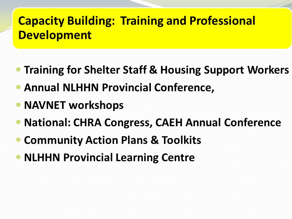 Capacity Building: Training and Professional Development Training for Shelter Staff & Housing Support Workers Annual NLHHN Provincial Conference, NAVNET workshops National: CHRA Congress, CAEH Annual Conference Community Action Plans & Toolkits NLHHN Provincial Learning Centre