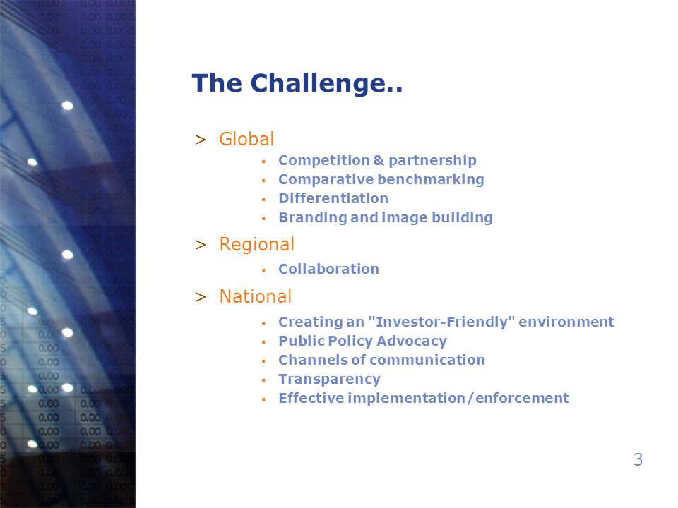 3 The Challenge.. >Global  Competition & partnership  Comparative benchmarking  Differentiation  Branding and image building >Regional  Collabora