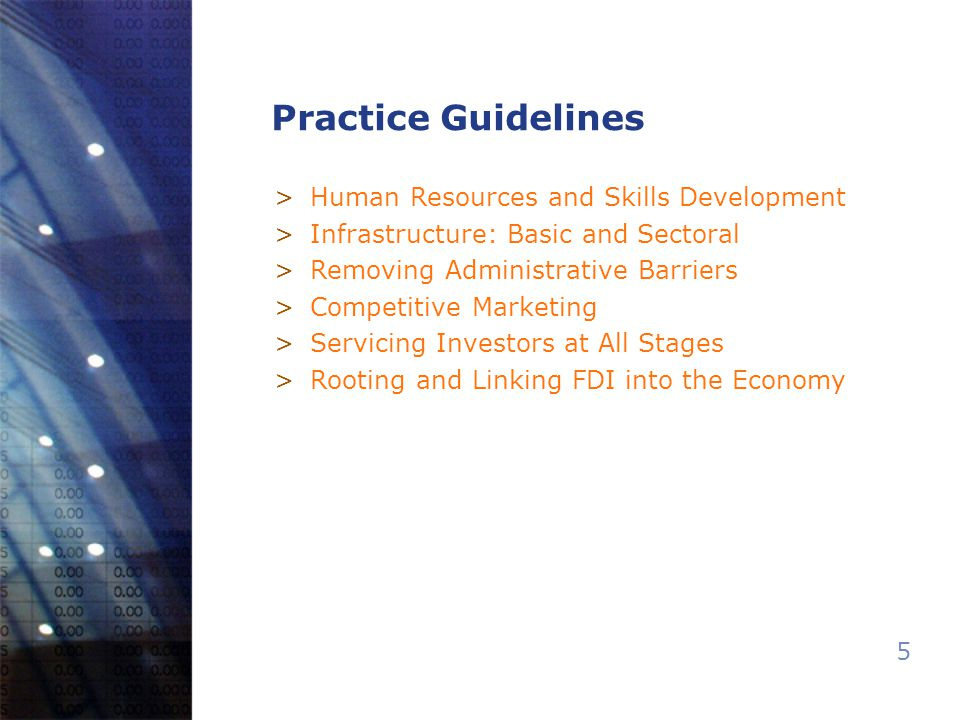 5 Practice Guidelines >Human Resources and Skills Development >Infrastructure: Basic and Sectoral >Removing Administrative Barriers >Competitive Marketing >Servicing Investors at All Stages >Rooting and Linking FDI into the Economy