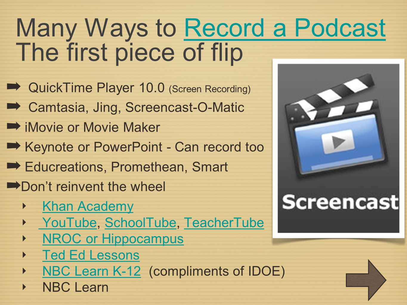 Many Ways to Record a Podcast The first piece of flipRecord a Podcast ➡ QuickTime Player 10.0 (Screen Recording) ➡ Camtasia, Jing, Screencast-O-Matic ➡ iMovie or Movie Maker ➡ Keynote or PowerPoint - Can record too ➡ Educreations, Promethean, Smart ➡ Don't reinvent the wheel ‣ Khan AcademyKhan Academy ‣ YouTube, SchoolTube, TeacherTube YouTubeSchoolTubeTeacherTube ‣ NROC or HippocampusNROC or Hippocampus ‣ Ted Ed LessonsTed Ed Lessons ‣ NBC Learn K-12 (compliments of IDOE)NBC Learn K-12 ‣ NBC Learn
