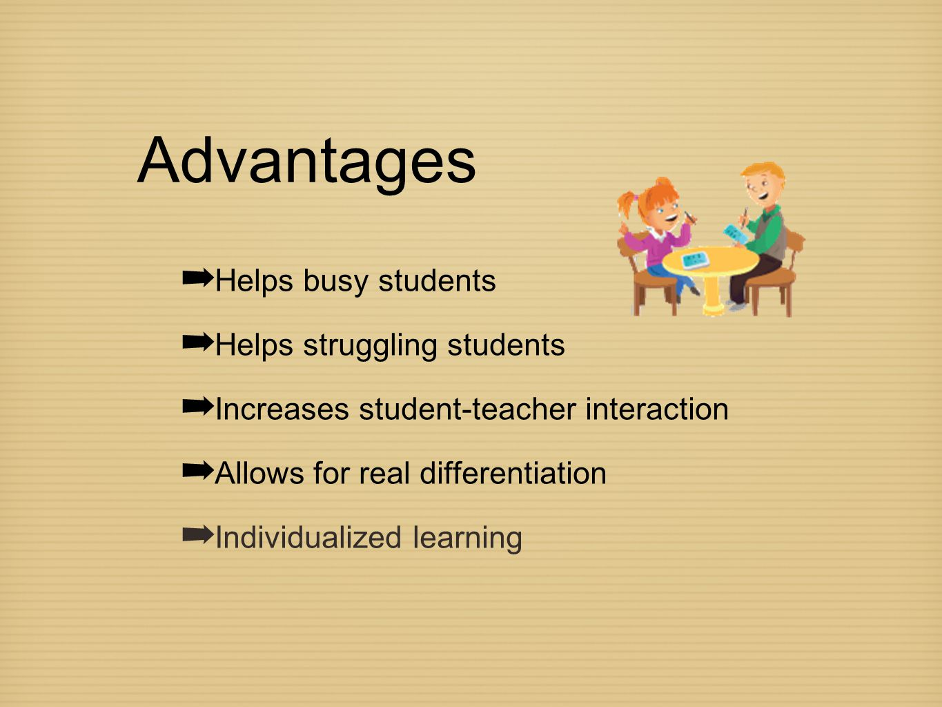 Advantages ➡ Helps busy students ➡ Helps struggling students ➡ Increases student-teacher interaction ➡ Allows for real differentiation ➡ Individualized learning
