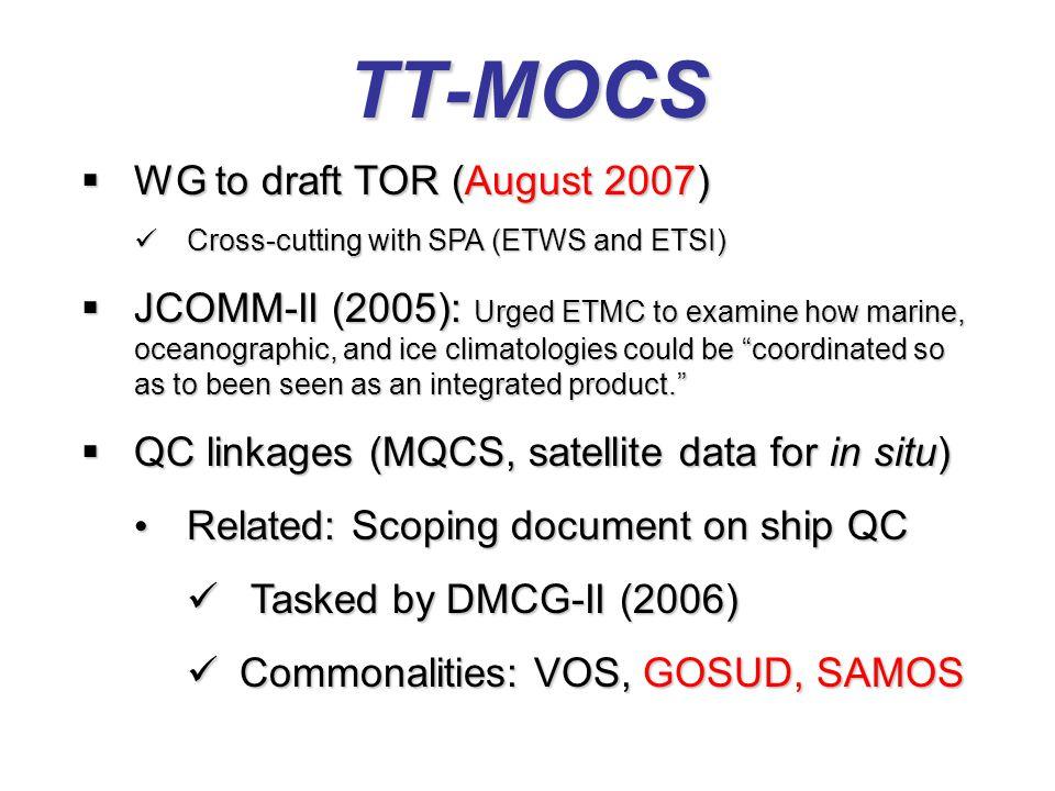 TT-MOCS  WG to draft TOR (August 2007) Cross-cutting with SPA (ETWS and ETSI) Cross-cutting with SPA (ETWS and ETSI)  JCOMM-II (2005): Urged ETMC to