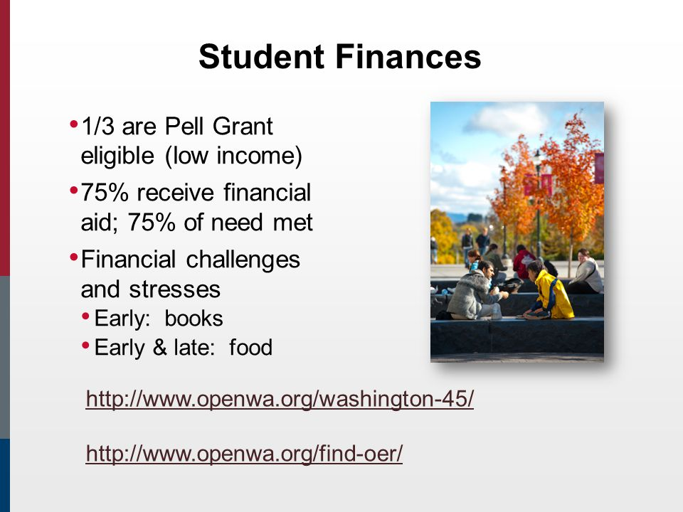 Student Finances 1/3 are Pell Grant eligible (low income) 75% receive financial aid; 75% of need met Financial challenges and stresses Early: books Early & late: food http://www.openwa.org/washington-45/ http://www.openwa.org/find-oer/